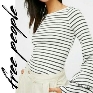 Free People Good Find Bell Sleeve Top Knit Striped